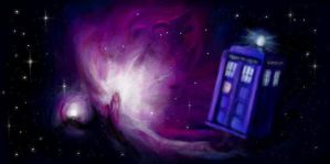 TARDIS and the Orion Nebula by MousyDi