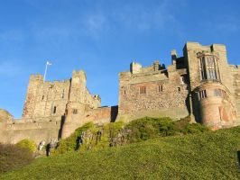 Bamburgh Castle Background stock 2 by Queenselphie