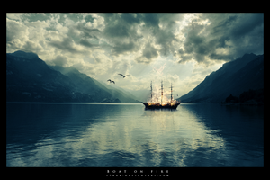 Boat on fire by FrantisekSpurny