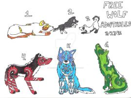 Free Wolf Adoptables ALL GONE by TearsOfABlackWolf