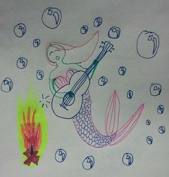 Mermaid Singing Around the Campfire Underwater by nelehjr