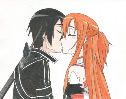 Kirito y Asuna kiss  (v.2) by Hahc3Shadow