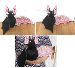 handmade black bat plush with abstract wings by MiniSweetx