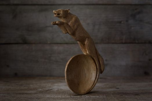 'The Call' - Hand Carved Oak Wolf Spoon (detail) by Giles-Newman-Carving