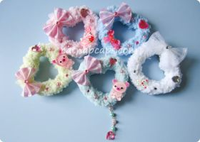 Fluffy heart hair clip brooch by CatNapCaps