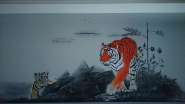Tigers painted by using airbrushes by LukeSobczakAirbrush