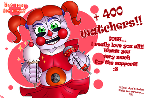 +400 WATCHERS!! by FNaF2FAN