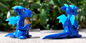 Blue Translucent Clay Dragon by HowManyDragons