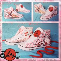 CUSTOM PAINTED + DESIGNED OKAMIDEN CONVERSE (uk) by xXxBLUExROSExXx
