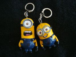 Dispicable Me Minion keyrings ^-^ by Pie-Hot