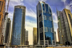 Dubai buildings from metro train by amirajuli