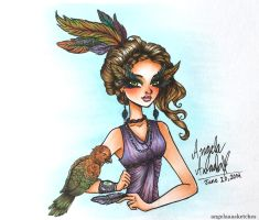 Feather Girl by angelaaasketches