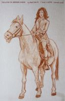 Christina on Arabian horse sketch by pesim65