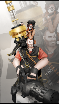 RWBY-TF2 Crossover :  Heavy weapons bros by dishwasher1910