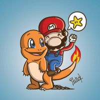 Mario riding Charmander by Italiux
