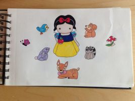[From my sketchbook] Chibi Snow White and friends by valefatina