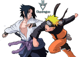 Sasuke vs Naruto -  Render by Obedragon