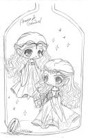 Arwen and Galadriel - Bottle-ified by YamPuff