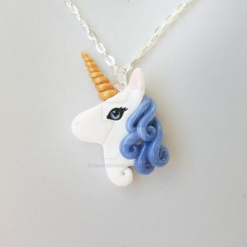 Blue Unicorn Head Pendant by mAd-ArIsToCrAt