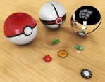 First 3D attempt: Pokeballs by MyBurningEyes