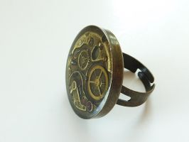 Adjustable Steampunk Watch Parts Bronze Ring by glowdragon270