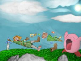 Link VS Kirby! by Mathayis