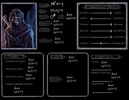 Evil Maiq Skyrim Character Sheet by oshirockingham