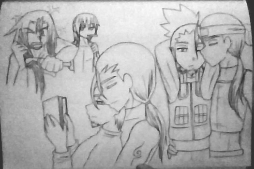 HidaShika Post Story Sketch by SazukaXDeidara4Ever