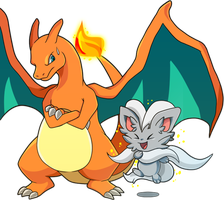 Cinccino and Charizard by bukin
