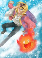 Howl and Calcifer by happyzuko