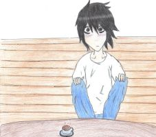 L waiting for his food by dgraymanlover17