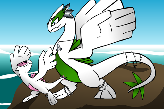 My lugia and his baby by thedarklucario789