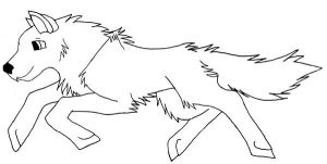 Free Wolf Jumping Lineart by DrawingMaster1
