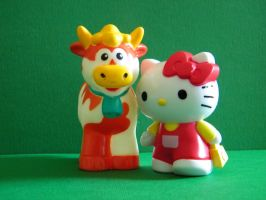 Kitty and Cow by Katydeviantart