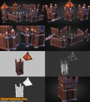 Wood Fortress Builder 3D Low Poly | 3DLowPolyModel by 3dlowpolymodels