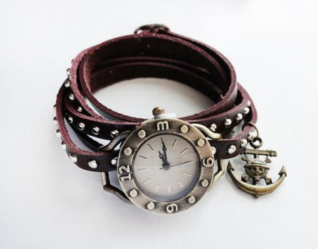 Leather Wrapped Antique BronzeWatch Bracelet by crystaland