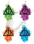 Deathly Hallows Watercolor Tattoos by albinoraven666fanart