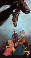 Rapunzel, Merida, Jack, Hiccup, Toothless by mstrychowska