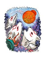 Three Wolf God Sun by jdjartist
