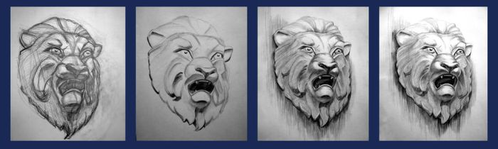 Lion mask in progress by OlwenArt