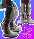 Ice's Fursuit Legs: Padding Test (Taped on) by Ice-Artz