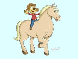 Dog on Horse by Buzz-On
