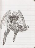 Super fast sketch - Blackwing Armed Wing by Silverthe-Dragon