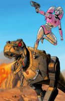 Arcee and Grimlock by lee-kalba
