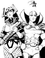 Big Barda and Mr. Miracle by DougHills