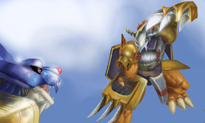WarGreymon vs. MetalGarurumon by Mearns