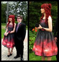 My space nebula prom dress by Megankaro