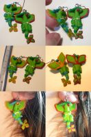 Flygon Earrings by ChibiSilverWings