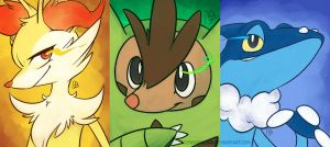 Pokemon XY  second level starters by lagendarylugia