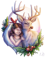 Christmas Deer and Girl by charfade
